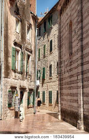 narrow street in Kotor Old Town, Montenegro