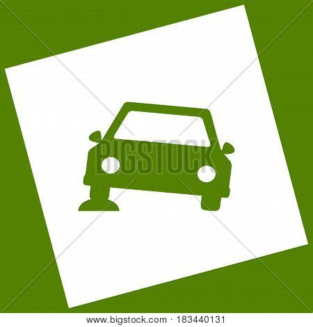 Car parking sign. Vector. White icon obtained as a result of subtraction rotated square and path. Avocado background.