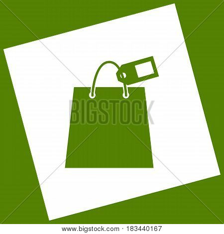 Shopping bag sign with tag. Vector. White icon obtained as a result of subtraction rotated square and path. Avocado background.