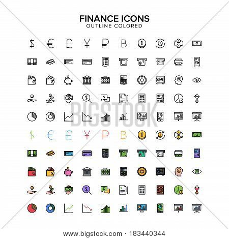 finance outline colored icons. Vector Illustration. Outline Icon set