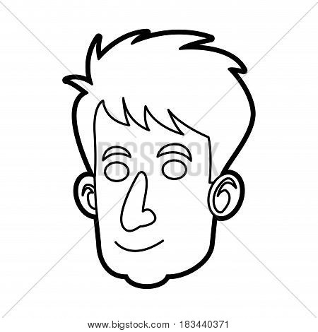 face man male character image outline vector illustration