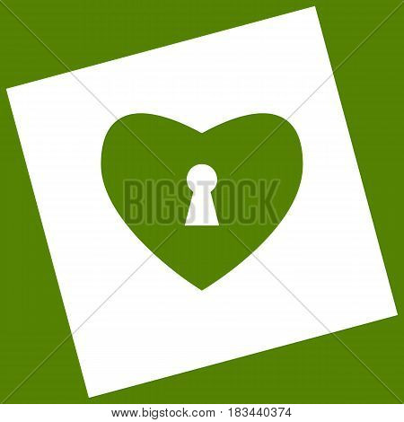 Heart with lock sign. Vector. White icon obtained as a result of subtraction rotated square and path. Avocado background.