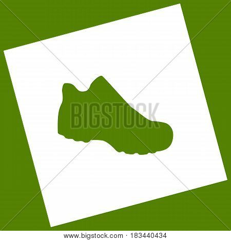 Boot sign. Vector. White icon obtained as a result of subtraction rotated square and path. Avocado background.