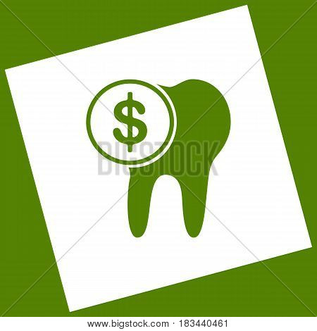 The cost of tooth treatment sign. Vector. White icon obtained as a result of subtraction rotated square and path. Avocado background.