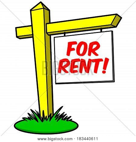 A vector illustration of a For Rent sign.