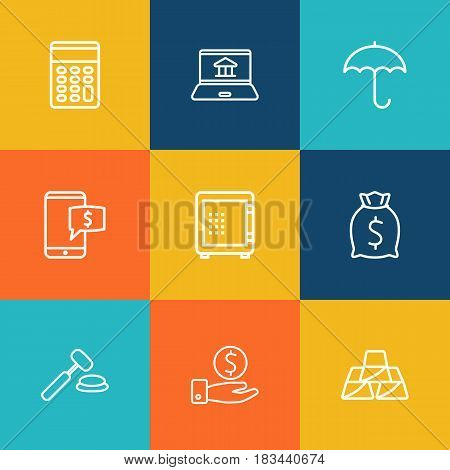 Set Of 9 Finance Outline Icons Set.Collection Of Savings, Moneybag, Internet Banking And Other Elements.
