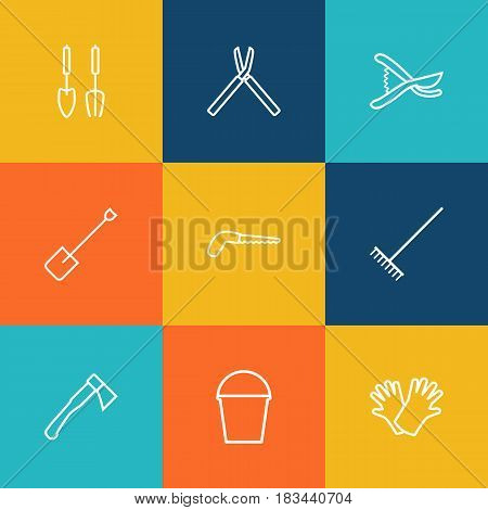 Set Of 9 Horticulture Outline Icons Set.Collection Of Spade, Instruments, Harrow And Other Elements.