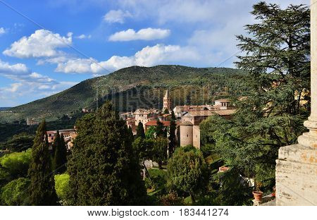 Tivoli old town panorama a beautiful small city near Rome