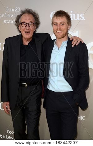 LOS ANGELES - APR 24:  Geoffrey Rush, Johnny Flynn at the National Geographic's