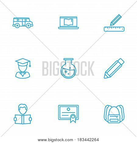 Set Of 9 Science Outline Icons Set.Collection Of Bus, Graduated, Ruler And Other Elements.