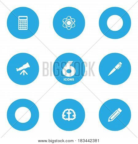 Set Of 6 Studies Icons Set.Collection Of Marrow, Drawing Tool, Molecule And Other Elements.