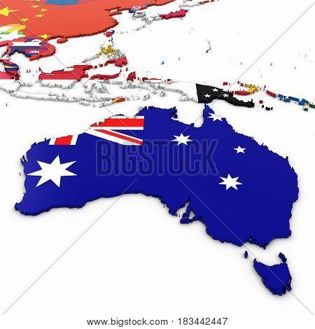 3D Map Of Australia With Australian Flag On White Background 3D Illustration