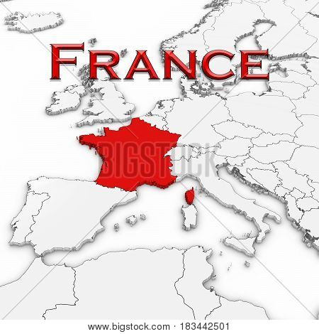 3D Map Of France With Country Name Highlighted Red On White With White Background 3D Illustration