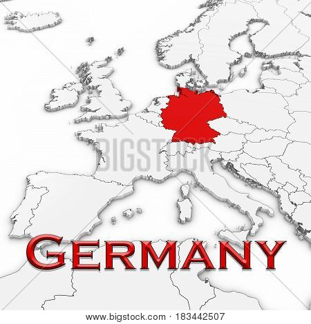 3D Map Of Germany With Country Name Highlighted Red On White With White Background 3D Illustration