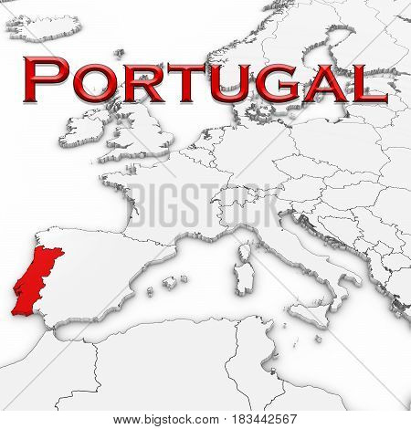 3D Map Of Portugal With Country Name Highlighted Red On White With White Background 3D Illustration