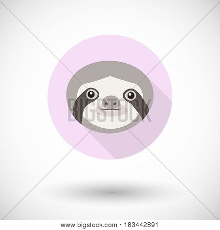 Sloth icon Flat design of animal face with long shadow isolated on the background with round shadow vector illustration