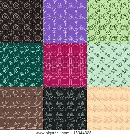 Cartoon doodles hand drawn style seamless pattern summer design wallpaper vector illustration. Modern ornament decorative fashion geometric background texture fabric backdrop.