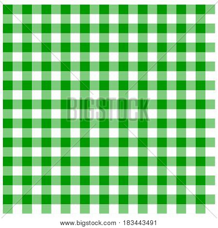 A vector illustration of a Green Gingham Tablecloth.