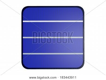 Enlarged solar cell on white background, 3D rendering