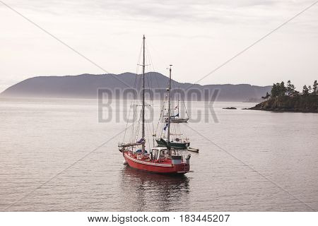 Red black and white sail boats anchored in a peaceful ocean bay. Orcas Island Washington USA.