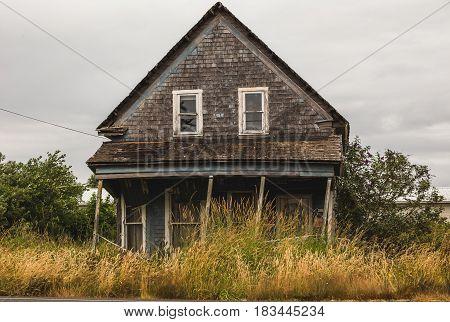 Creepy, rickety, abandoned house near the Oregon coast.
