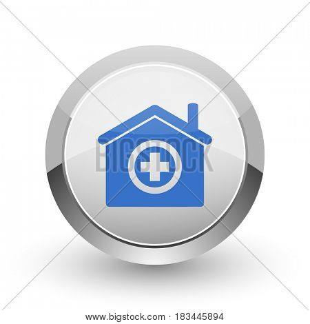 Hospital chrome border web and smartphone apps design round glossy icon.