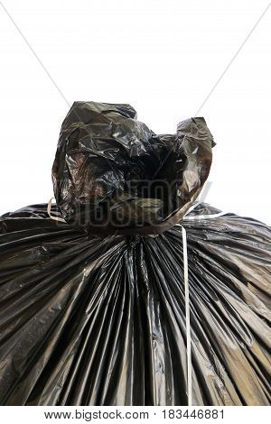 Close up garbage bag isolated on white background