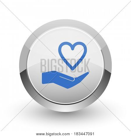 Care love chrome border web and smartphone apps design round glossy icon.