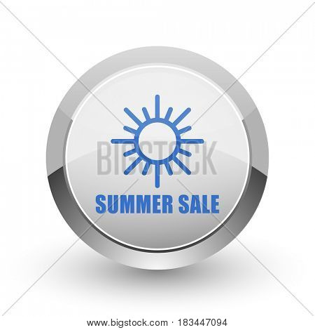 Summer sale chrome border web and smartphone apps design round glossy icon.