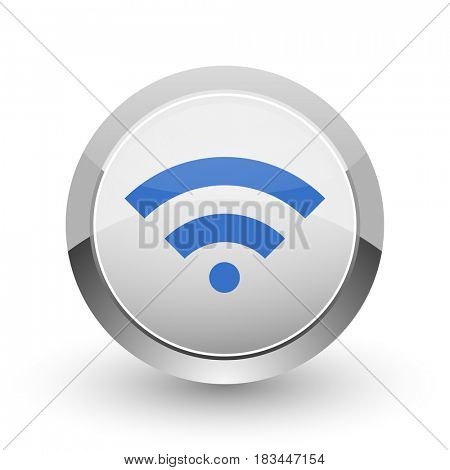 Wireless chrome border web and smartphone apps design round glossy icon.