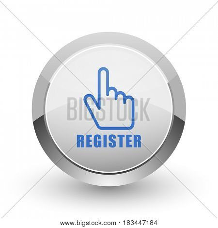 Register chrome border web and smartphone apps design round glossy icon.