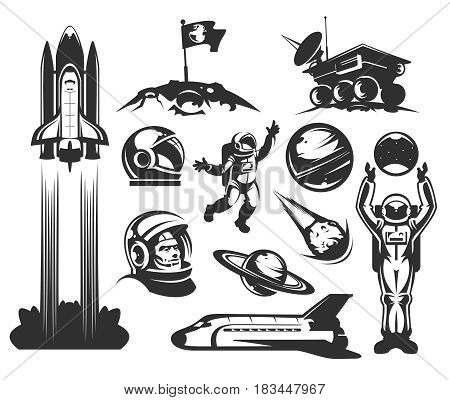 Set of vector icons of space. Elements of design, badges, logo and emblem on a white background. The concept of space travel