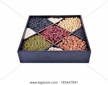 grain in compartment box and on white background