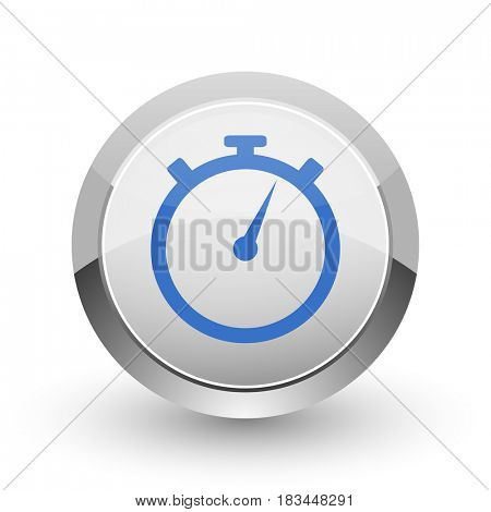 stopwatch chrome border web and smartphone apps design round glossy icon.
