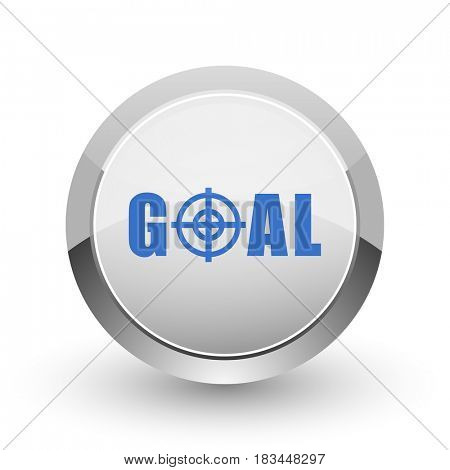 Goal chrome border web and smartphone apps design round glossy icon.