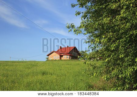 New family house and blue sky