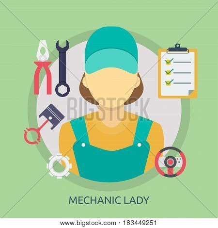 Mechanic Lady Conceptual Design | Great flat illustration concept icon and use for mechanic, car repair, industrial, transport, business concept, and much more.