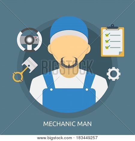 Mechanic Man Conceptual Design | Great flat illustration concept icon and use for mechanic, car repair, industrial, transport, business concept, and much more.