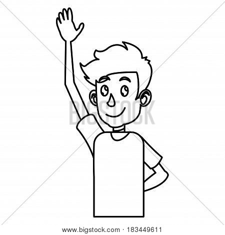 young boy teen up arm outline vector illustration