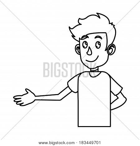 young boy teen male image outline vector illustration