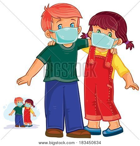 Vector illustration of little boy and girl in medical masks, protection from grip and cold. Print