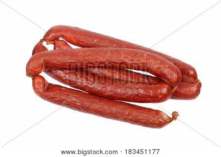Smoked sausages isolated on a white background