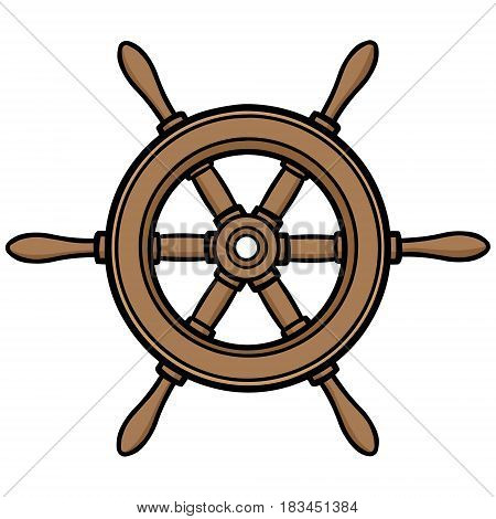 A vector illustration of a boat Helm.