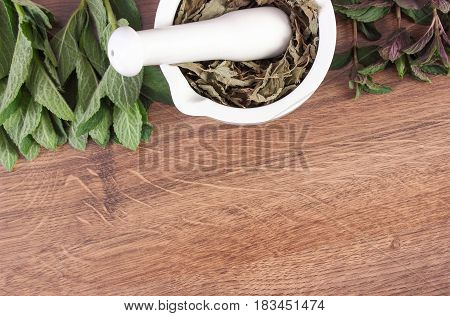 Fresh Natural Green And Dried Mint With Mortar, Healthy Lifestyle, Copy Space For Text
