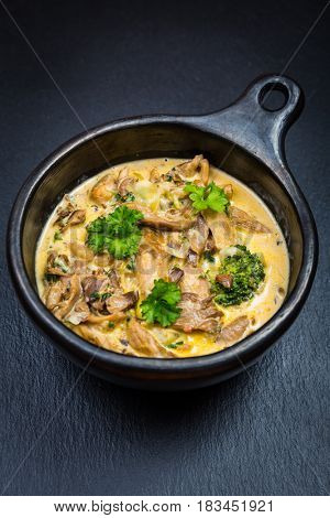 Oyster mushroom soup with vegetables