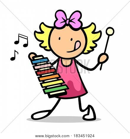 Cartoon of child playing music with xylophone in school or kindergarden