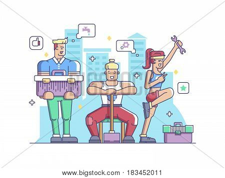 Workers, man and woman. Builder and plumber. Vector flat illustration