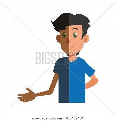 young boy teen male shadow vector illustration