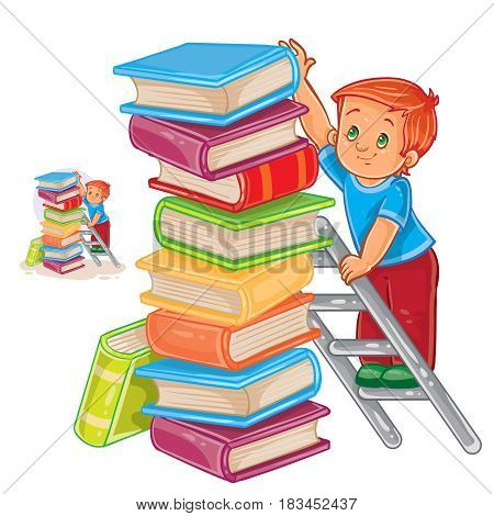 Vector illustration of a little boy is standing on the ladder and stacking books with a pile. Print