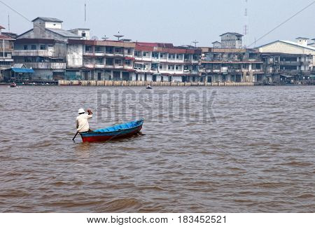 The Kapuas River is the longest river in Indonesia. The delta is located in Pontianak, the capital of West Kalimantan Province, Indoneisa